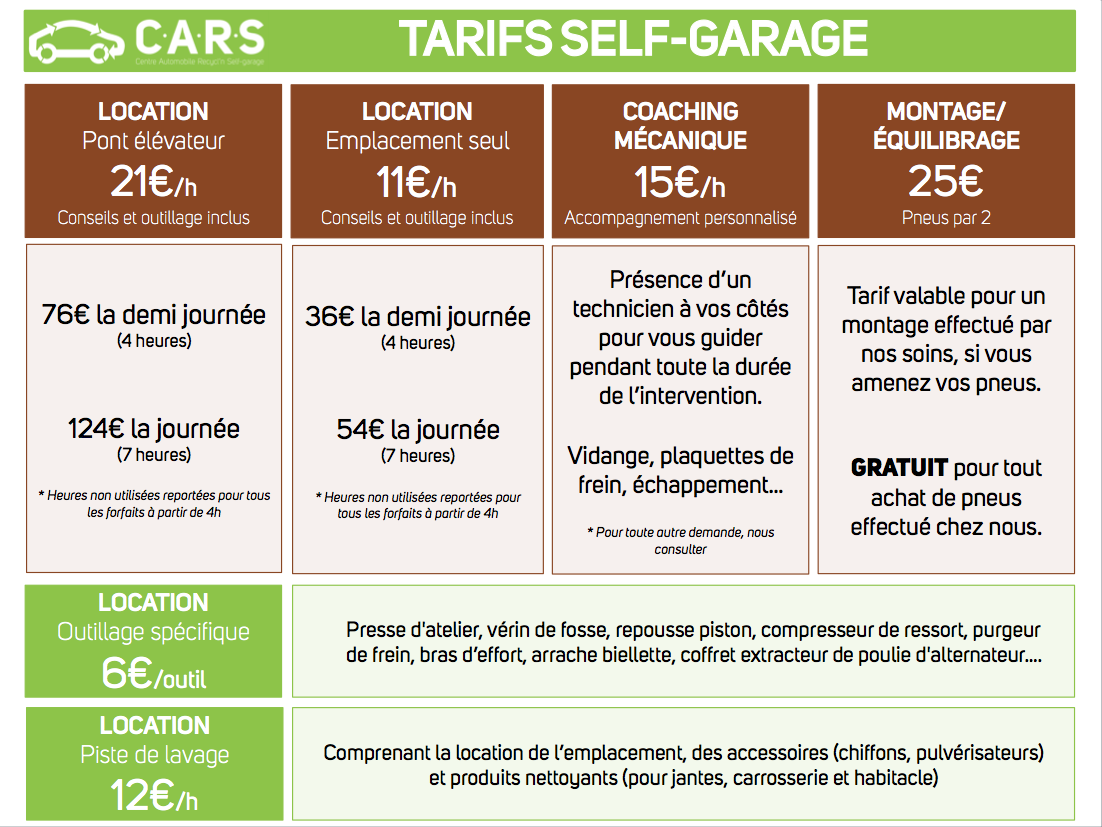 Self garage c a r s cherbougetoi le blog for Tarif garage automobile